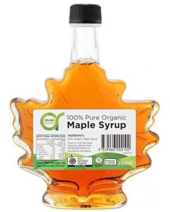 Maple Syrup in Maple Leaf Bottle 250ml By Organic Road